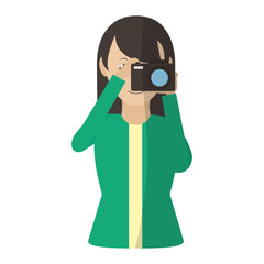 woman with camera take picture and blouse
