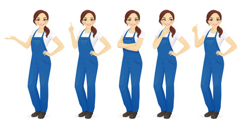 Pretty woman in overalls vector illustration set