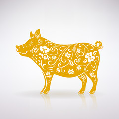 Stylized Yellow Pig