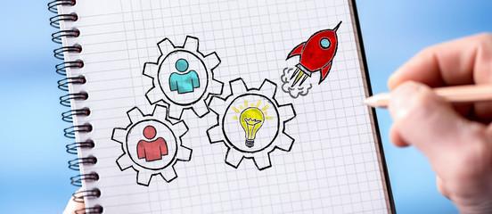 Teamwork concept on a notepad