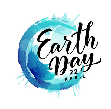 Earth Day. 22 april. Vector abstract blue Earth planet with text