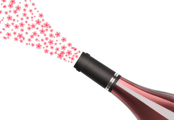 Bottle of rose wine with floral bouquet isolated on a white background