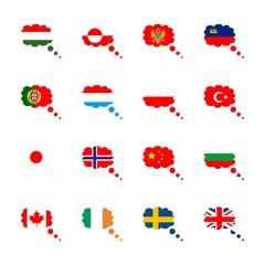 icon Flag with hungarian flag, turkey flag, usa flag, canada and uk flag