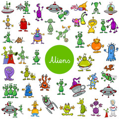 cartoon alien fantasy characters large set