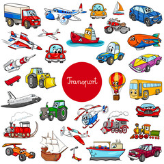 cartoon transportation vehicle characters big set