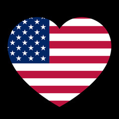 Icon heart symbol of love on the background national flag state USA. Vector illustration.