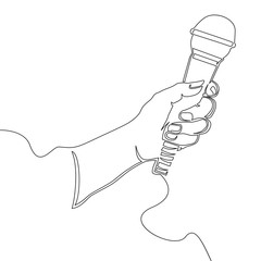 Hand with microphone Continuous line Vector