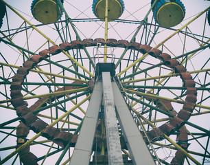 An old Ferris wheel. Closed park