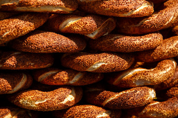 Turkish Bagel Simit with sesame, traditional pastry of Turkey