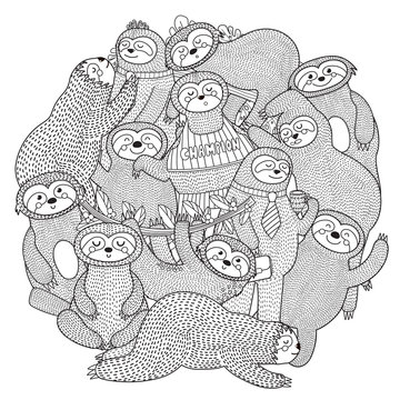 Funny sloths circle shape pattern for coloring book. Vector illustration