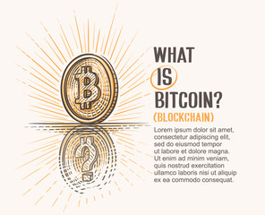 Concept drawing of bitcoin coin and its reflection with question mark symbolizing explanation of this thing. Vector.