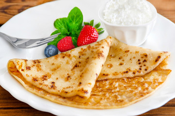 French pancake - Crepe and cottage cheese
