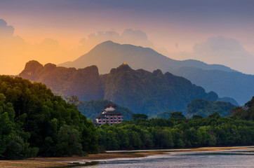 Wall Mural - Mountain River Light River in Krabi, Thailand Tiger Cave Temple atmosphere beauty Nature