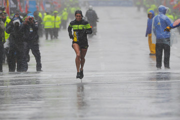 Desiree Linden of the U.S. comes down Boylston Street to the finish line to win the women's divisions of the 122nd Boston Marathon in Boston