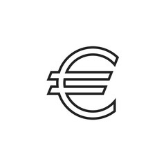 Euro Symbol Outline Icon Vector