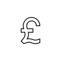 Pound Symbol Outline Icon Vector