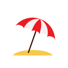 Beach umbrella isolated on white background. Vector stock.