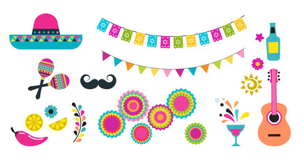 Mexican fiesta, Cinco de Mayo, birthday elements and icons Wall mural