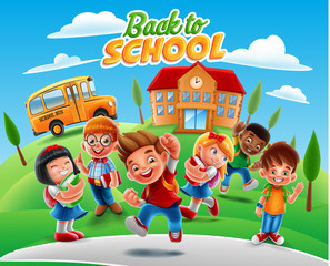 back to school illustration banner