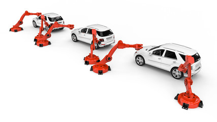 Automotive robots / 3D render image representing a factory line with automotive robots and cars
