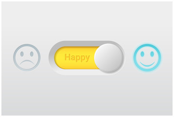 Emotional background with switch control turn on represent happy emotion , vector , illustration