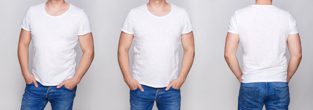 T-shirt design - young man in blank white tshirt front, from side and rear on gray backround