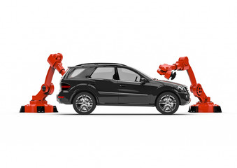 Automotive robots in a factory line / 3D render image representing a factory line with automotive robots and cars