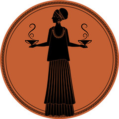 Zodiac in the style of Ancient Greece. Libra. Woman carrying small amphoras or smoking vessels in each hand. Black figure inscribed in a circle surrounded by a fret.