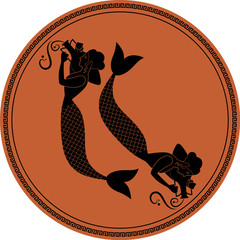 Zodiac in the style of Ancient Greece. Pisces. Two girls with fish tails, carrying Greek amphoras on their shoulders. Sirens. Black figures inscribed in a circle surrounded by a fret.