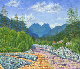 Oil Painting on canvas. Landscape with mountains, river, forest and village houses. Sunny summer day. Blue sky with clouds. Rough texture of large brush strokes.