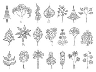A set of hand-drawn sketches of trees. Vector doodle plant. Zentangle style. A collection of trees to create a forest. Patterns for coloring.