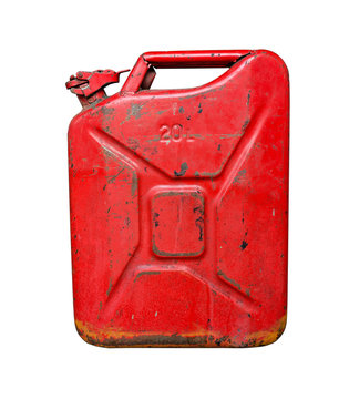 Old red metal fuel tank for transporting and storing petrol. Isolated  on a white background