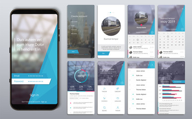 Design of the mobile application, UI, UX. A set of GUI screens with login and password input, home page, news feed, rating and statistics, settings. Wall mural