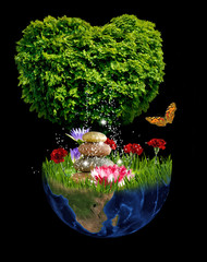 stylized image of tree, planet and flowers