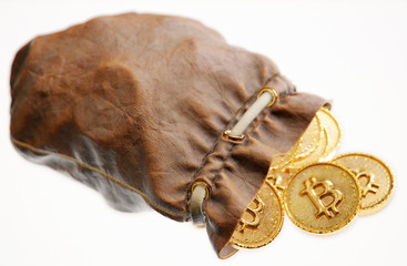 Coins of Bitcoin in a leather pouch. Isolated on white background. 3D illustration.