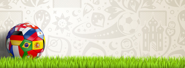soccer background with colorful ball