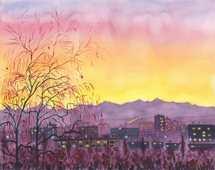 Watercolor painting. A city with lights in the windows. Sunset time. In the background there are mountains and a colorful sky. In the foreground is a tree.