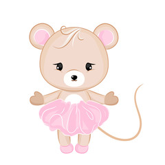 Vector cartoon mouse in dress.