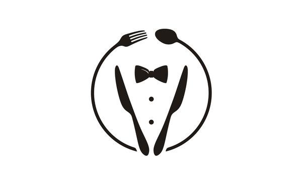Bow Tie, Tuxedo, Knifes, Spoon Fork Restaurant Dinner logo design inspiration