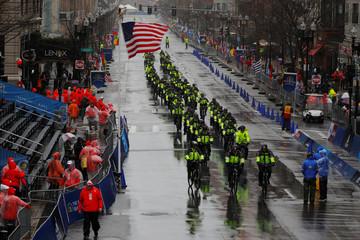 Boston Police arrive at the finish line for the 122nd Boston Marathon in Boston