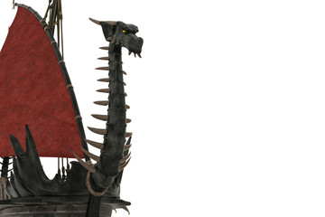 Foto op Aluminium Draw dragon wooden ship in a white background