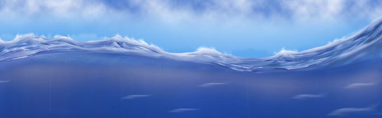 illustrated image of sea