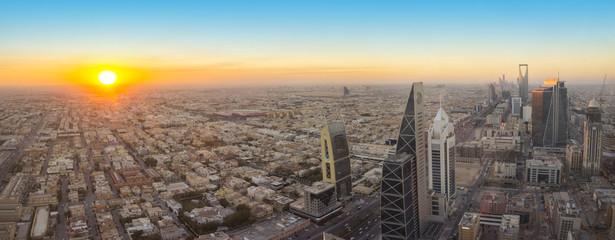Aerial view of Riyadh City, the Capital of Saudi Arabia, on sunset