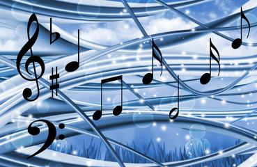 stylized image of notes on blue background