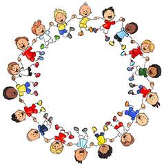 Kinder in verschiedenen Fußballtrikots halten sich an den Händen - Vektor Illustration