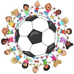 Kinder vereint um Fußball - Vektor Illustration