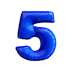 Number 5 five of blue balloons on a white background.
