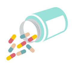 two kind colorful pills spilling from overturned bottle. vector format illustration.