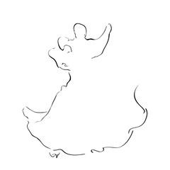 Sketch of dancinge couple isolated on white. Waltz.