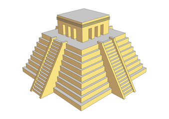 Aztec or mayan steps pyramid with temple on top